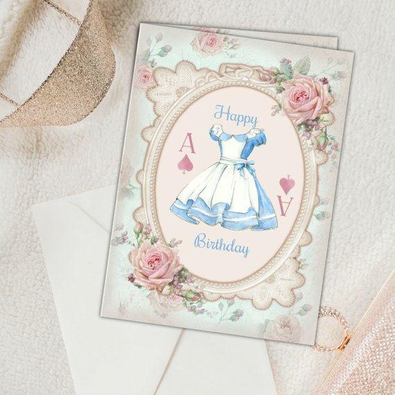 Digital Alice In Wonderland Birthday Card Alice In Wonderland Birthday Birthday Card Printable Alice In Wonderland