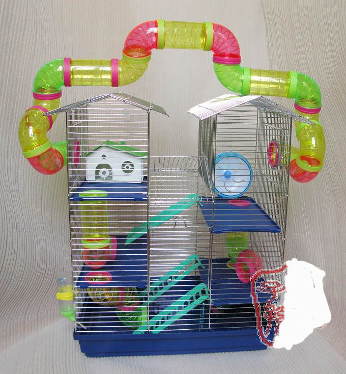 Hamster Cage With Tube For Playing In Side Chrome Hamster Cage Hamster Cage