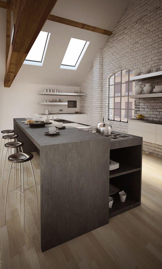 La cucina moderna lisola mansarde idée cuisine et cuisines
