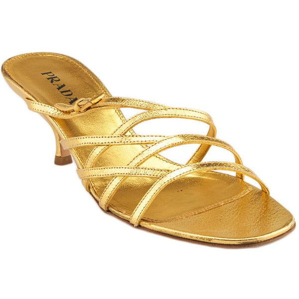 Pre Owned Prada Gold Leather Kittens Heels 46 Liked On Polyvore Featuring Shoes Pumps Gold Kitten Heel Pumps Kitten Heel Pumps Gold Leather Gold Shoes