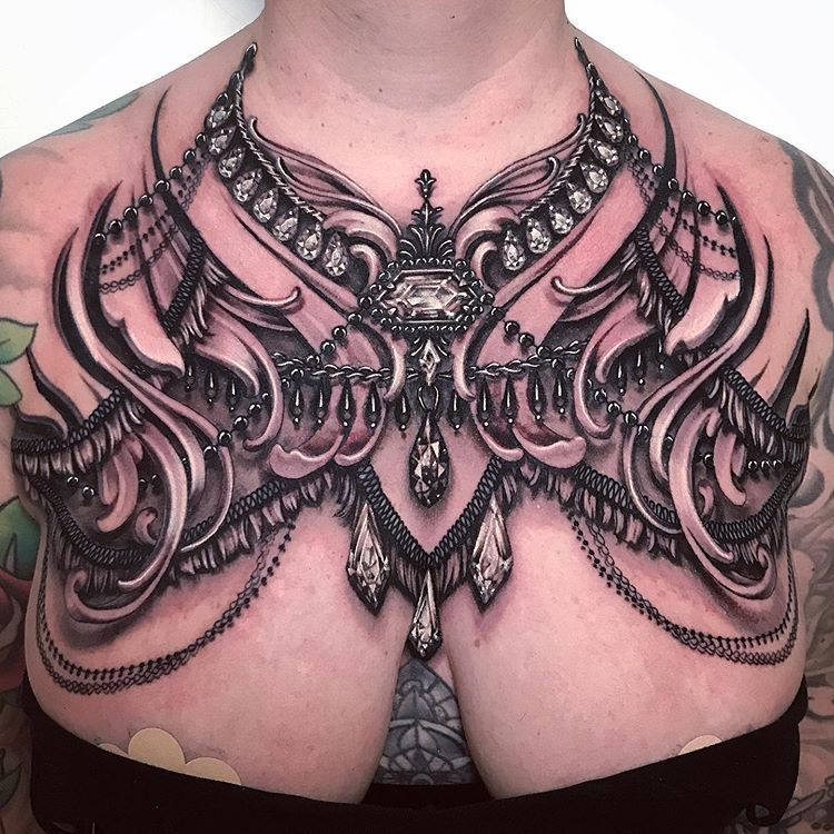 """Ryan Ashley Malarkey on Instagram: """"2 day fringe and bead harness chest piece on an extremely tough lady! How did we get this done in 2 days? My client sat like a BOSS! Thank…"""" -  Ryan Ashley Malarkey auf Instagram: """"2 day fringe and bead harness chest piece on an extremely to -"""