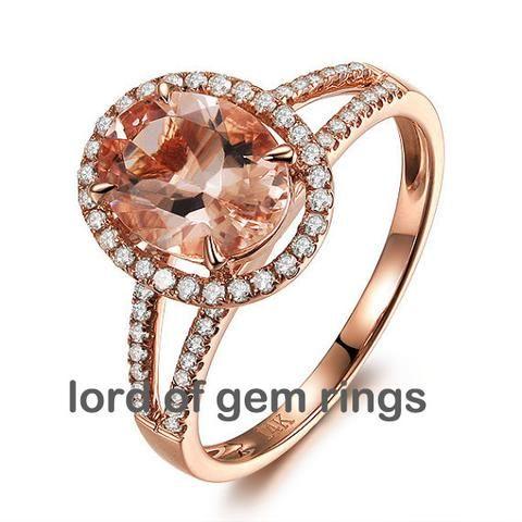 Oval Morganite Engagement Ring Pave Diamond Wedding 14K Rose Gold 7x9mm Split Shank - Lord of Gem Rings - 1