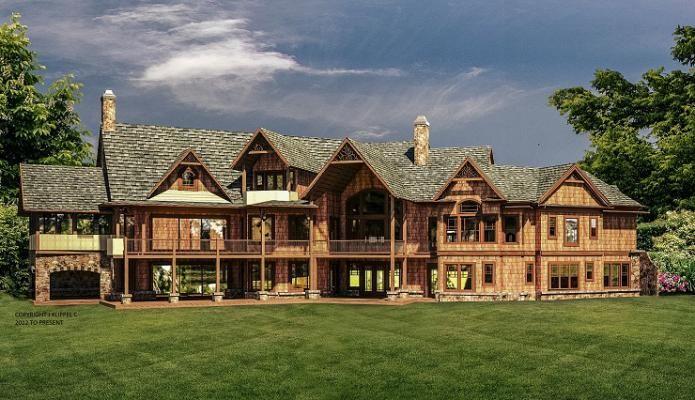 Kettle Creek Lodge House Plan Two Story Luxury Estate Rustic Mountain Lakefront Style Custom Floor Plan Rustic House Plans Luxury House Plans House Blueprints