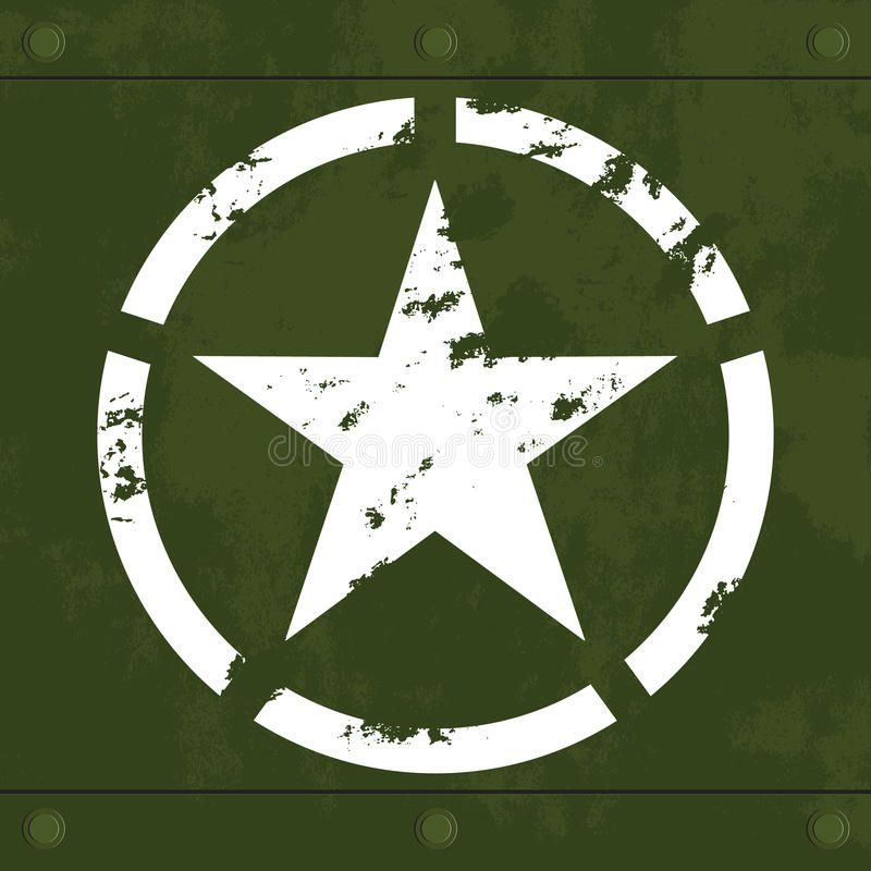 White military star on green metal. Grungy white army star