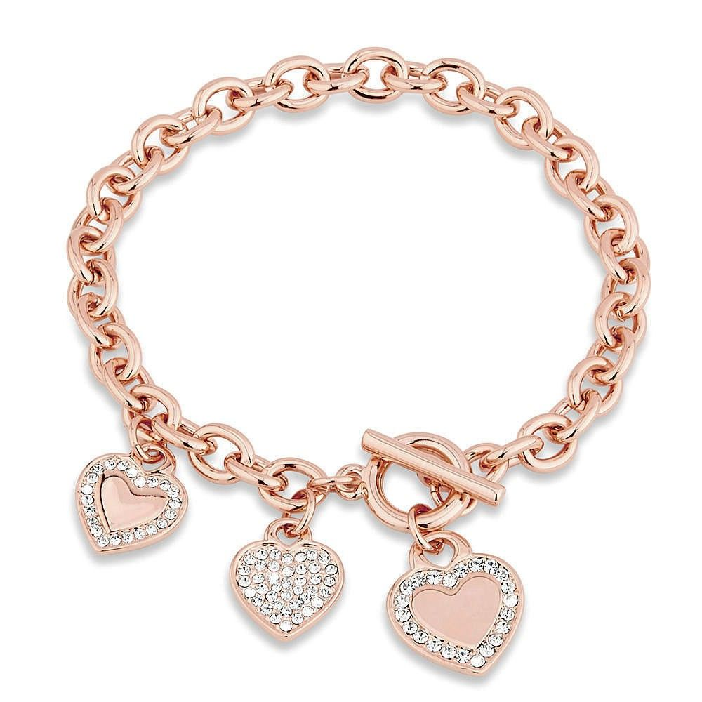 Valentines Day Clear Crystal Rose Gold Tone Heart Toggle Bracelet