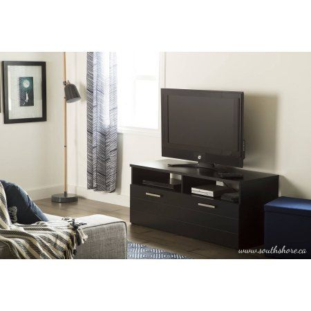South Shore Jambory TV Stand With Storage Bins On Casters For TVs Up To 48  Inch, Multiple Finishes, Black