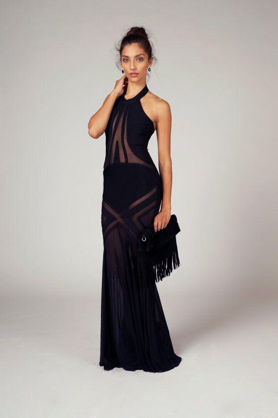 TAYLOR - Long Halter Bandage Mesh Sheer Mermaid Evening Gown Prom ...