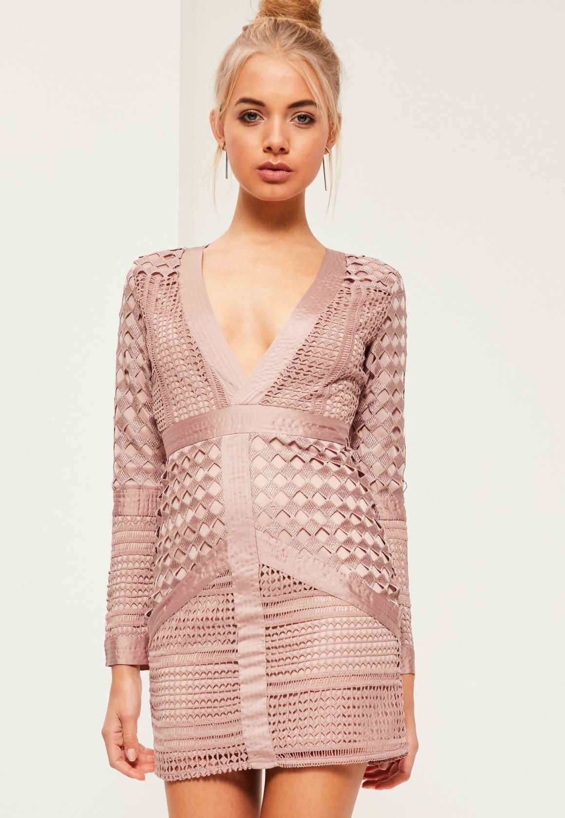 Missguided - Pink Lace Plunge Bodycon Dress  98552318c