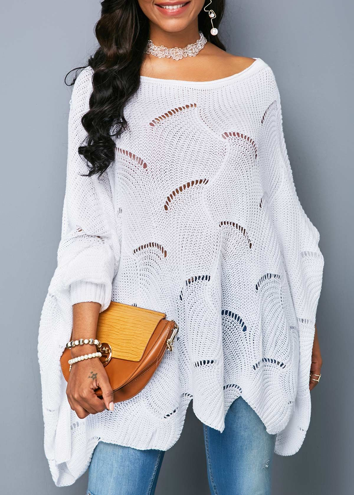 Asymmetric Hem Pullover White Lantern Sleeve Sweater