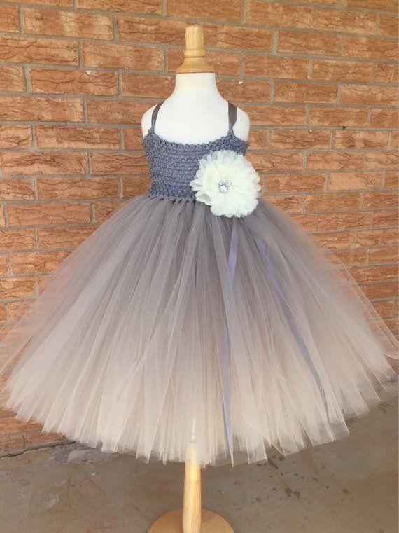 4ab1675b336 Grey silver flower girl dress