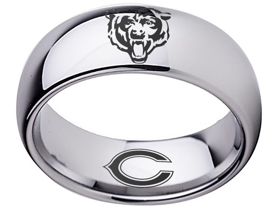 Chicago Bears Ring Silver 8mm Tungsten Ring Sizes 5 16 Available Customize With A Special Name Date Or Messag Chicago Bears 8mm Tungsten Ring Silver Rings