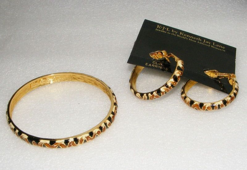 KJL Kenneth Lane Enamel Bangle Bracelet Earrings SET animal kingdom multi color #KennethJLaneKJL