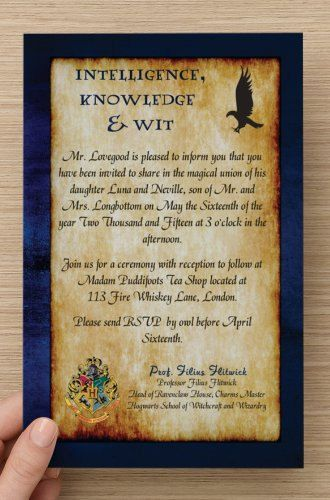 Custom Harry Potter Ravenclaw Invitation AND RSVP Card! Personalize Verbiage. Perfect for Any Harry Potter Fan's Wedding, Birthday or Party