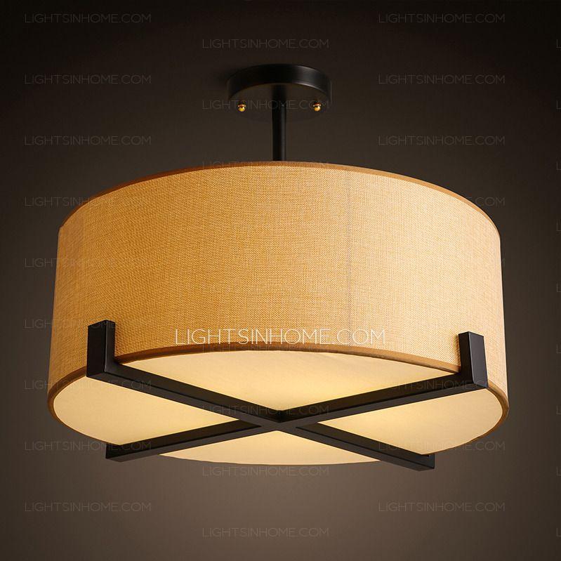 Wrought Iron Semi Flush Ceiling Light Drum Fabric Shade. Pendant ...