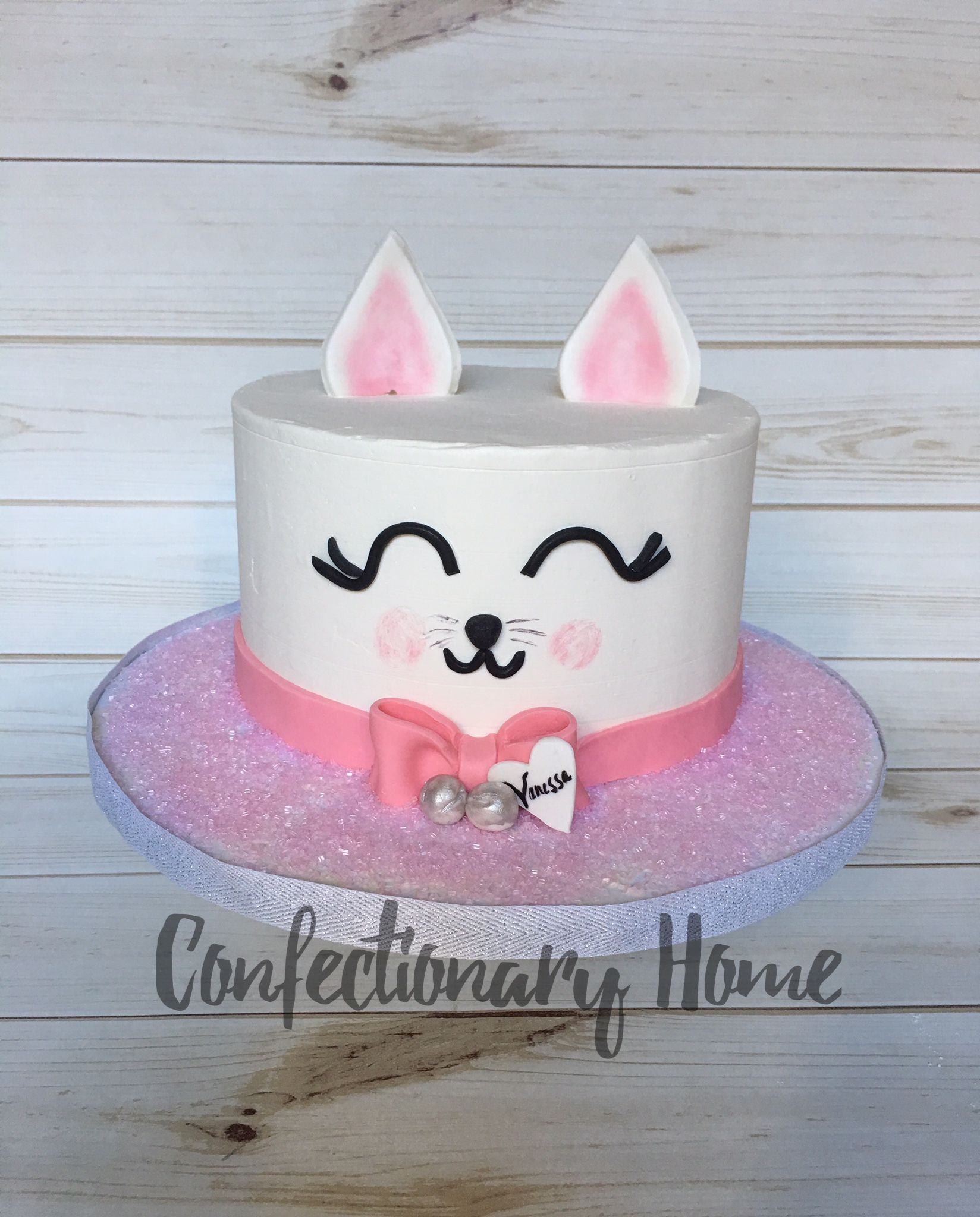 Kitty Cat Face Cake Pink Kitty Cat Cake With Silver Bells And