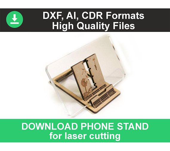 Phone Stand template for CNC laser cutting plan drawing cad DXF CDR