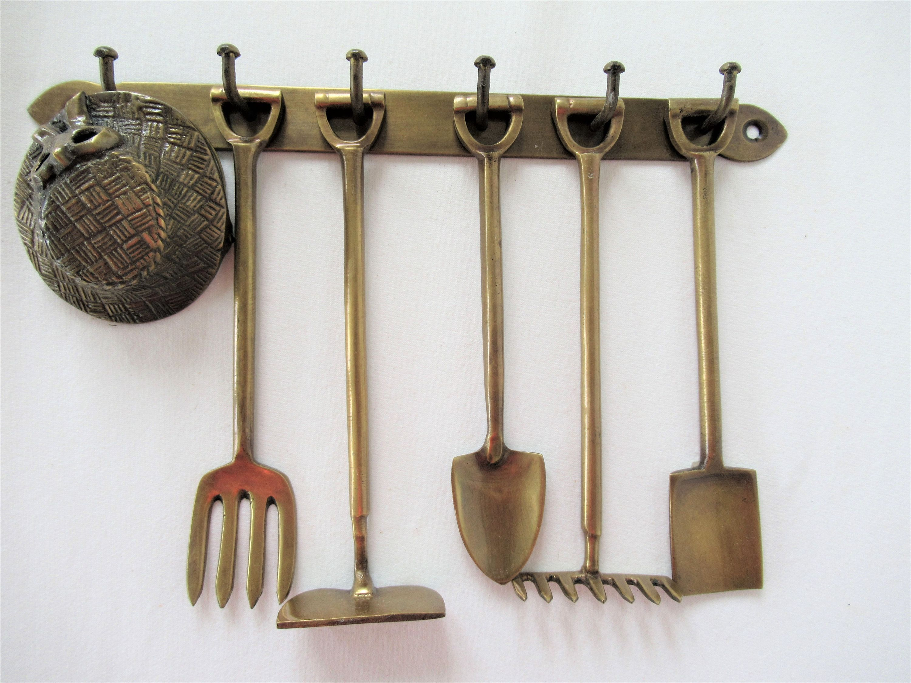 Vintage Small Brass Garden Tools On Brass Rack Made India Hoe
