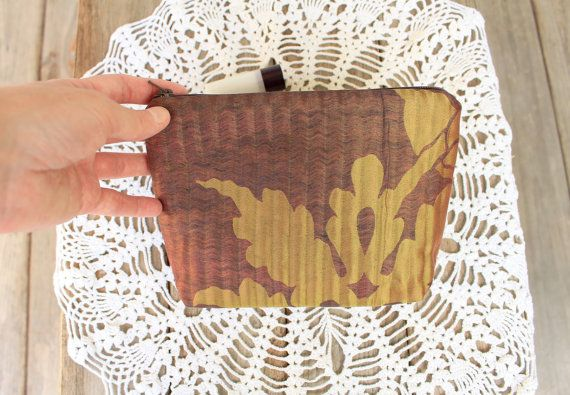 Small cosmetic bag Elegant makeup purse of taffeta autumn brown with flowers…