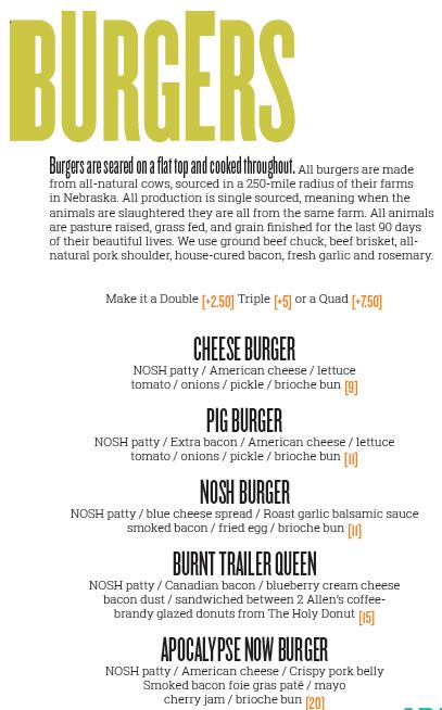 Nosh Kitchen Bar Burger Menu Restaurant Branding Burger