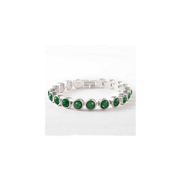 Dark Moss Green Ice Bracelet ❤ liked on Polyvore featuring jewelry, bracelets, sterling silver jewelry, touchstone crystal jewelry, sterling silver jewellery, party jewelry and dark green jewelry
