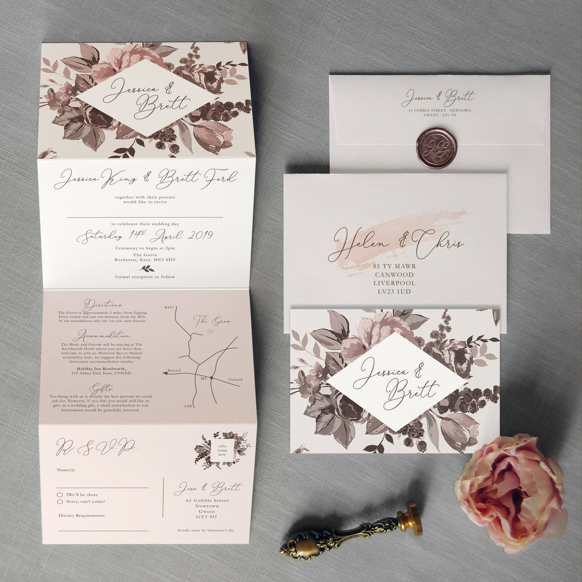 Belle Concertina Wedding Invitations and Save the Date