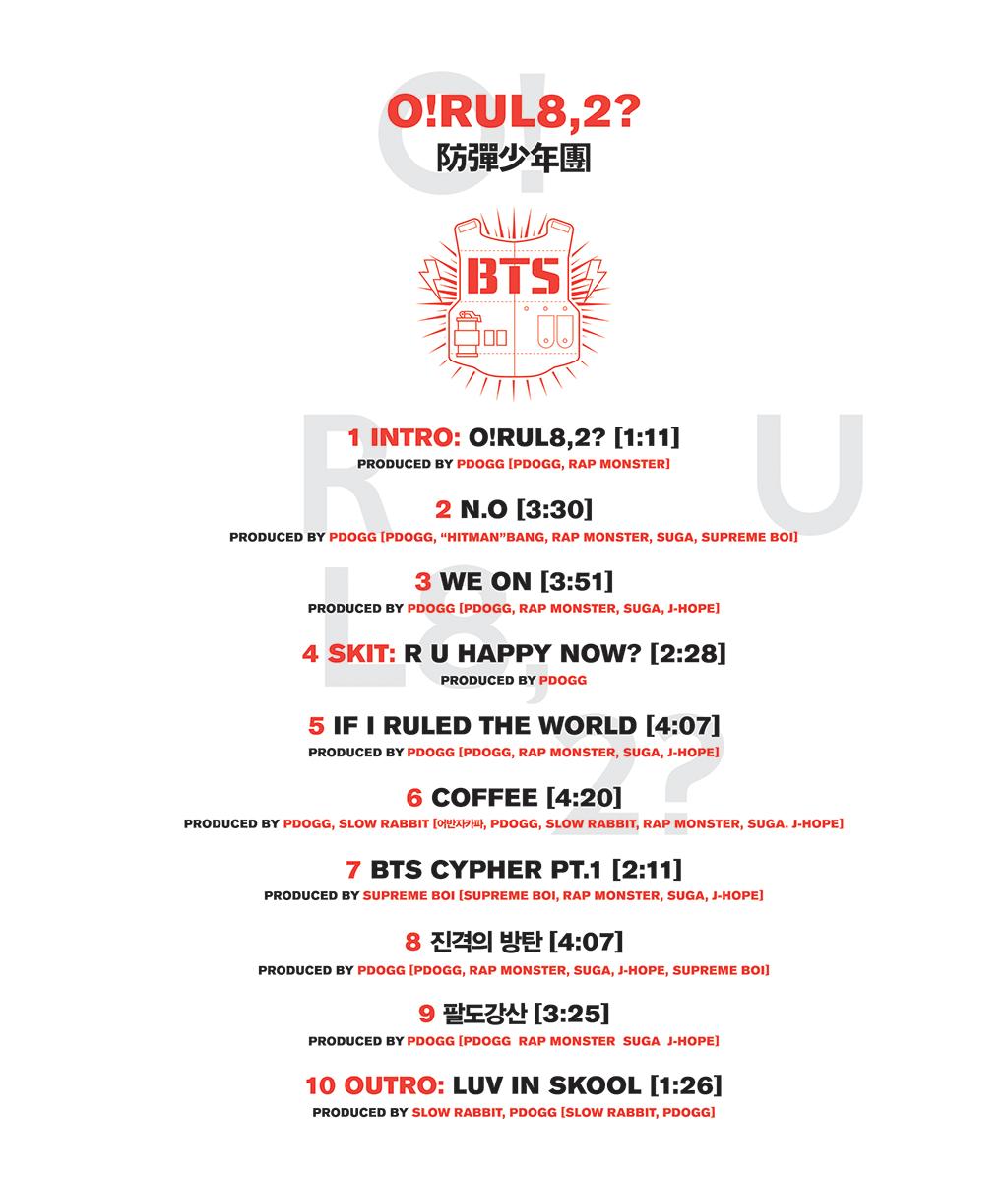 TRACKLIST BTS 1st Mini Album O RUL82