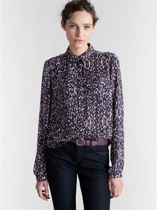 Damen-Hemdbluse, bedruckt BLAU BEDRUCKT