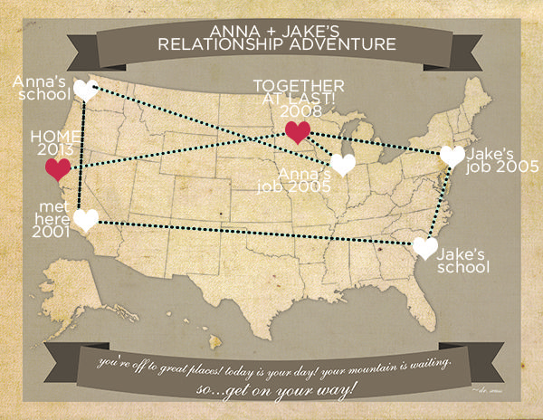 Free printable travel map – perfect for the traveling couple!
