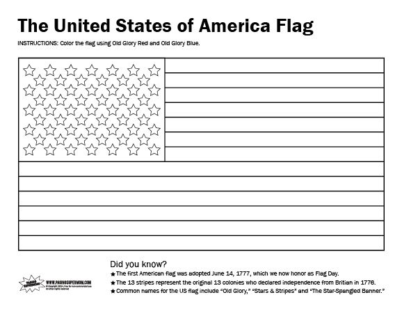 Printable Usa Flag Coloring Page Flag Coloring Pages American