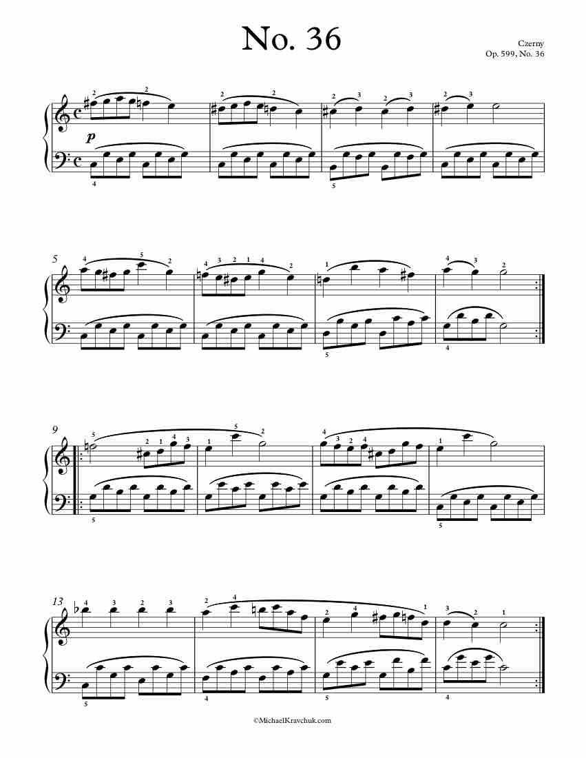 Free Piano Sheet Music Op 599 No 36 Czerny Piano Sheet Music Free Piano Sheet Music Sheet Music