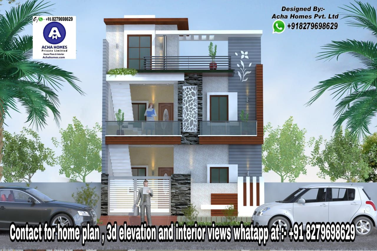 Modern Home Designs For 25 Feet By 50 Feet Plot Building Front Designs Modern Bungalow House Residential Building Design