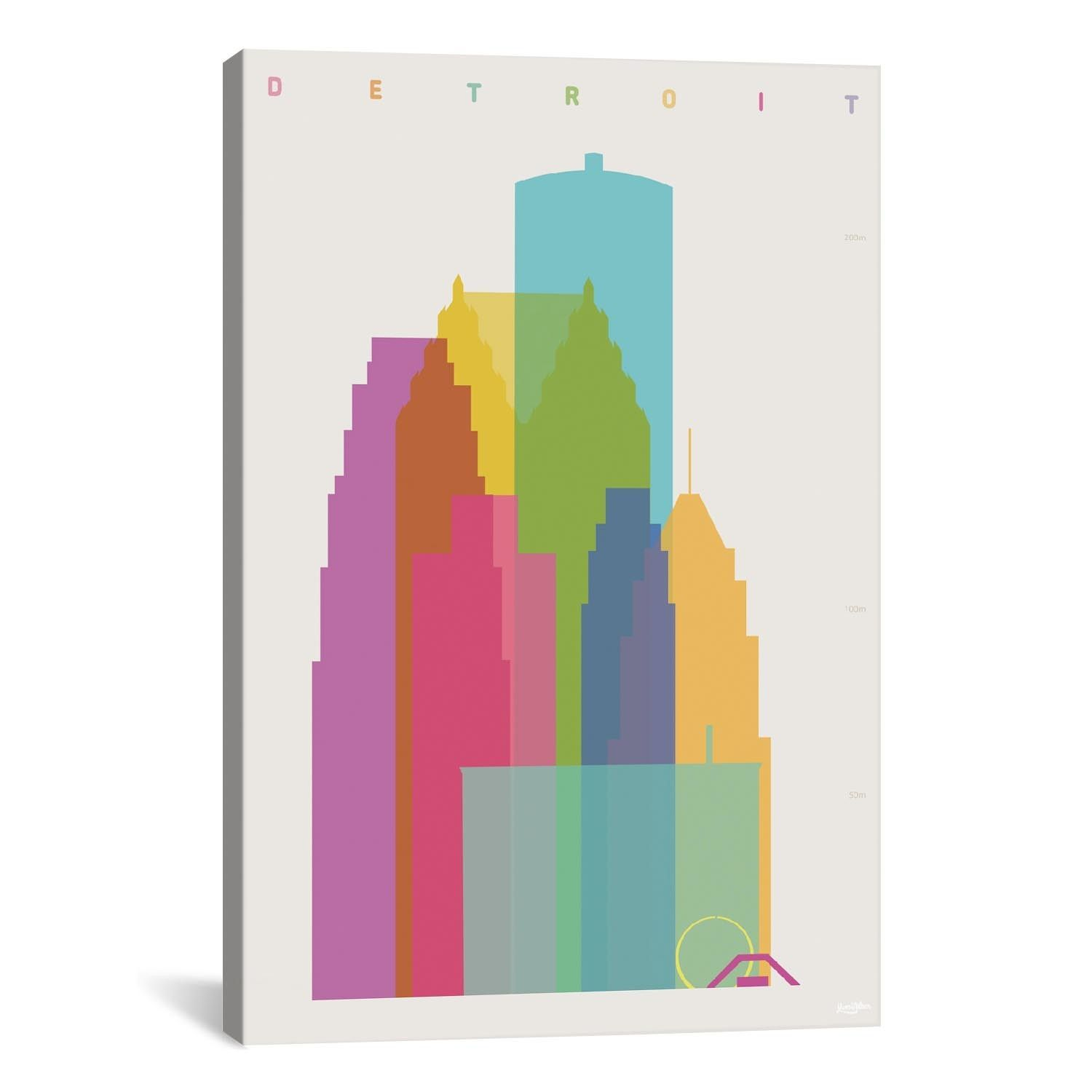 Detroit by Yoni Alter Graphic Art on Wrapped Canvas