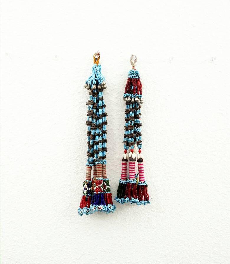 3 Tassels Beautiful Vintage Multicolor Beaded Jewelry Making Tassels Costume Supplies Tribal Kuchi Baluchi Tassels DIY Findings Dresses Bag