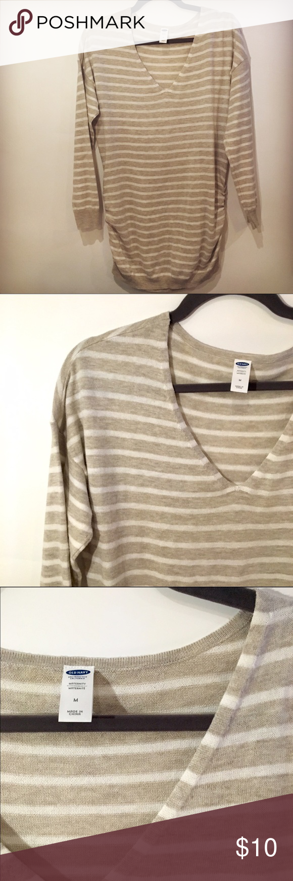 Old Navy Maternity V Neck Neutral Striped Sweater | Cream white