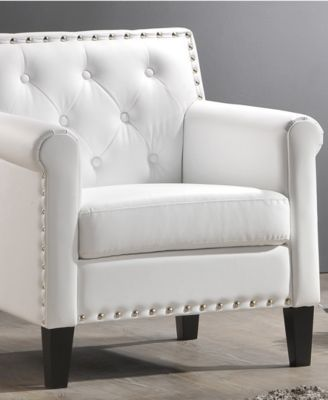 Furniture Antonia Faux Leather Accent Chair Reviews Chairs Furniture Macy S Furniture White Armchair Armchair