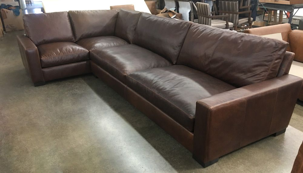 Raf Braxton Leather L Sectional In Italian Berkshire Cocoa Leather