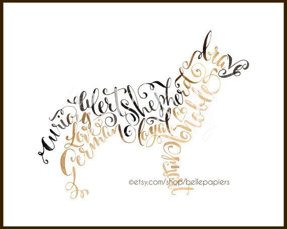 Calligraphy German Shepherd Watercolor Calligraphy By