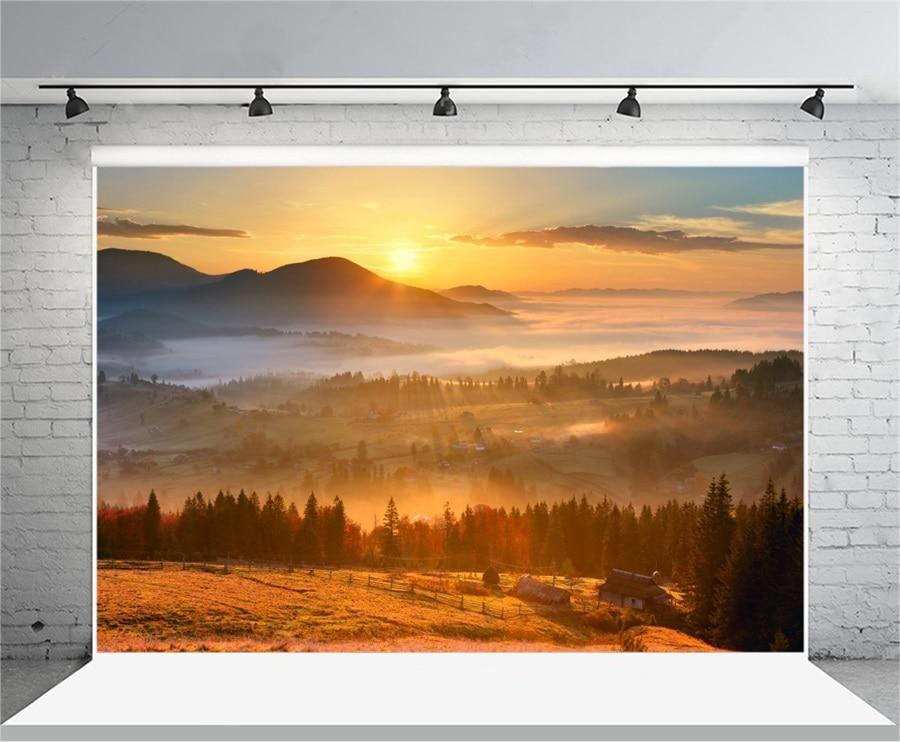 Laeacco Rural Farm Forest Morning Sunrise Landscape Photography Backdrops Vinyl Backdrop Custom Us 6 99 Background For Photography Photography Backdrops Sunrise Landscape
