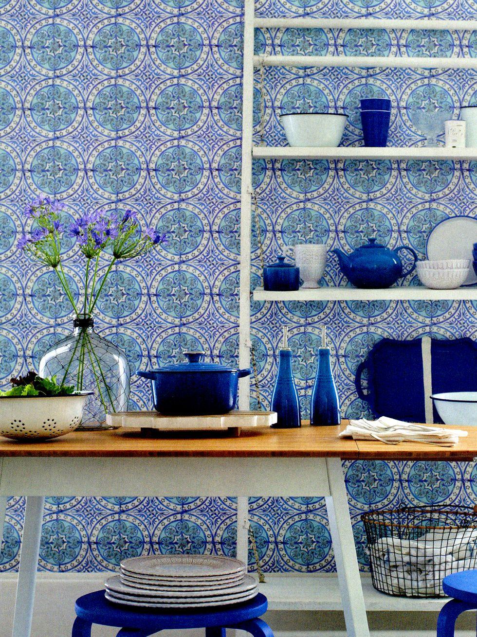 Old blue large image   Bathroom   Pinterest   Wallpaper, Blue tiles ...