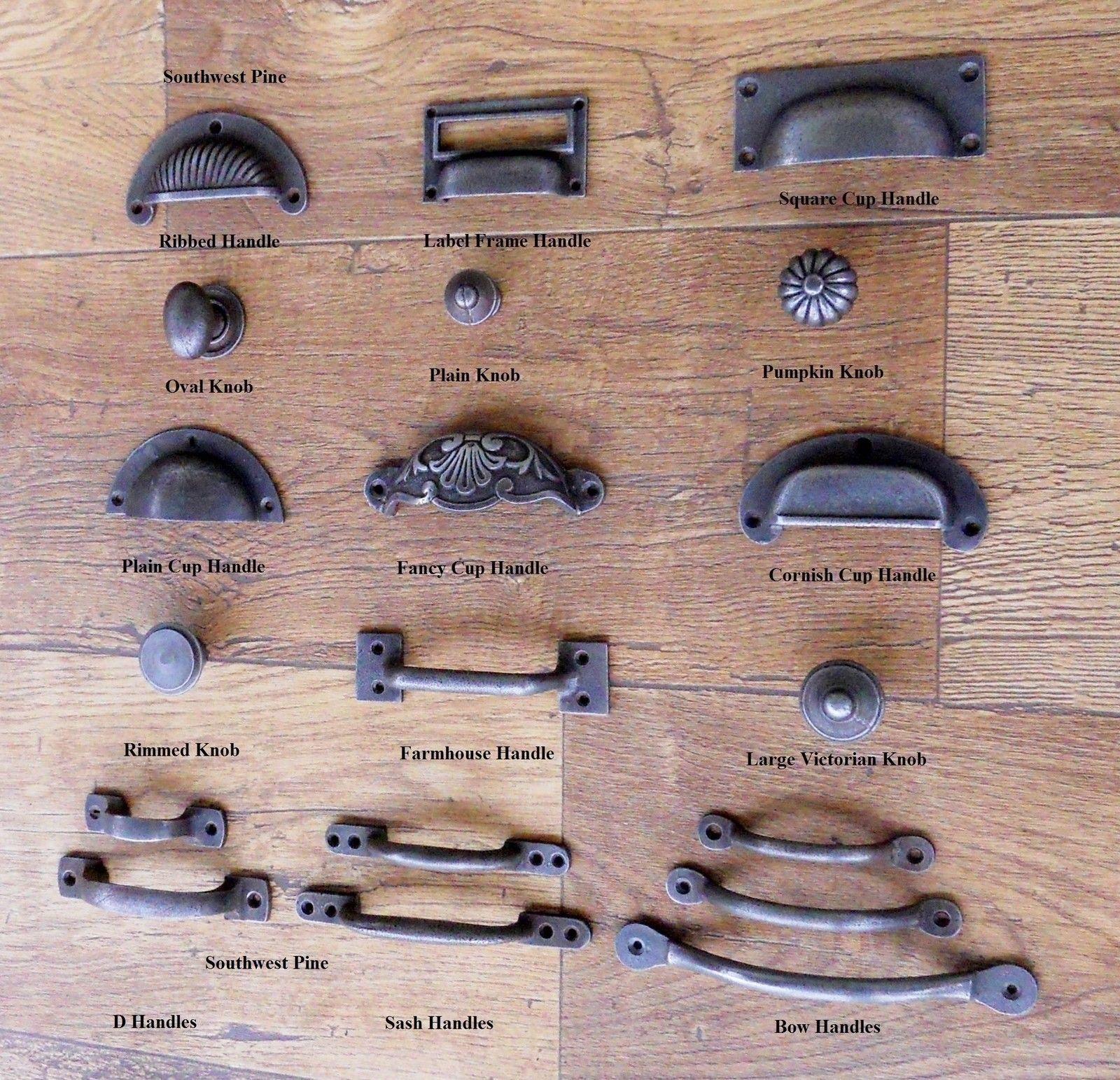 4 CAST IRON FANCY CUP PULLS DRAWER CABINET BIN HANDLES RUSTIC VINTAGE DRESSER