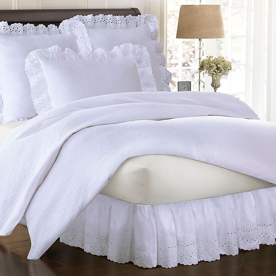 "Smoothweave Ruffled Eyelet 14"" California King Bed Skirt"