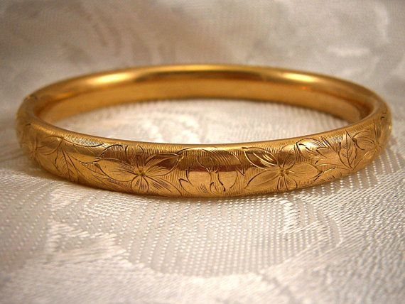 Simmons Antique Gold Bangle Bracelet By
