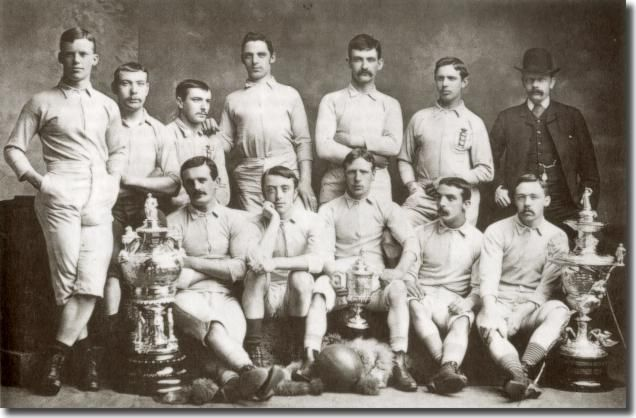 The Blackburn Rovers team which won the FA Cup in 1884. Team captain James Brown (front row, centre) holds the trophy.