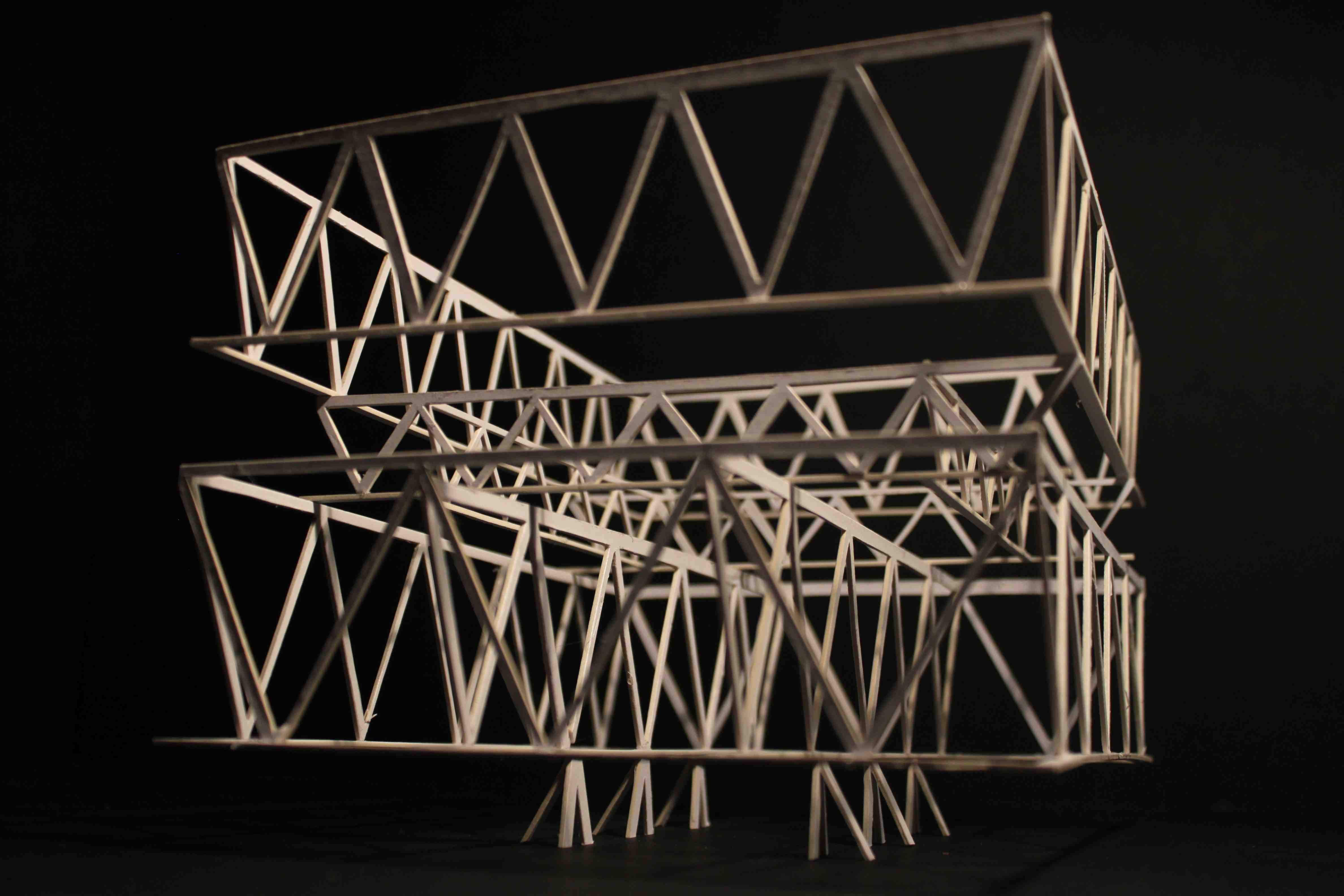 Leutshenbach School, Zurich. Technology case study model exploring the structure made up of three layers of trusses and the ground floor supports