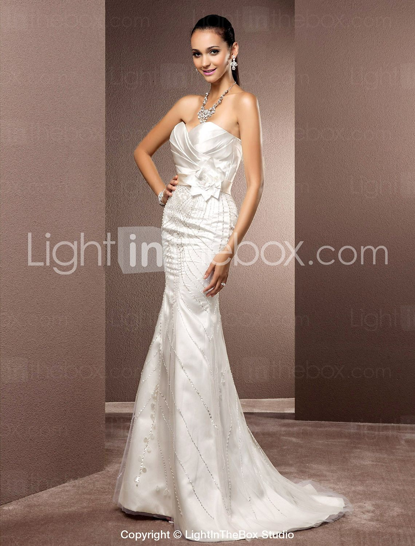 trompete / sereia namorada de varredura / escova de trem de cetim e vestido de noiva de tule - BRL R$ 775,89