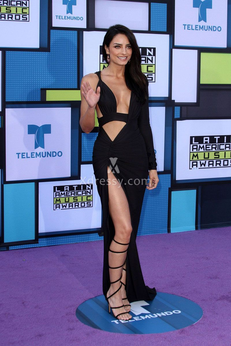 Aislinn derbez sexy cutout black prom dress latin american