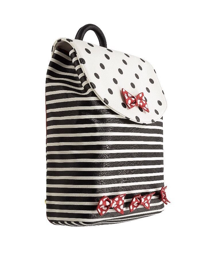dd9b5d171ce Disney Parks Minnie Mouse Bows Stripes And Dots Black White Backpack Bag NEW
