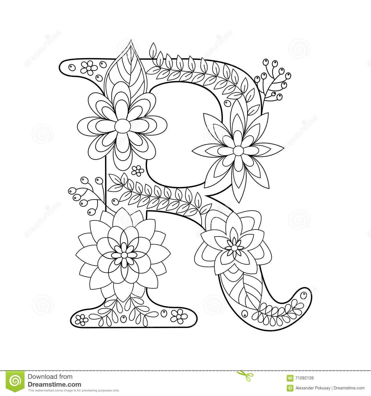 Letter R Coloring Book For Adults Vector Stock Vector Illustration Of Element Fabric 71092139 Alphabet Coloring Pages Coloring Pages Coloring Books