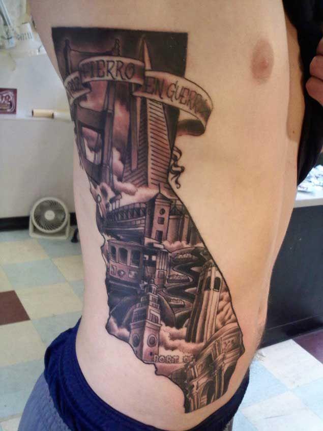 California Map Tattoo 40 Breathtaking State of California Tattoos   Tattoos   Ankle