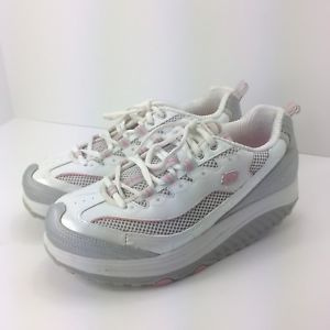 Shape ups Skechers womens toning shoes grey pink size 8.5